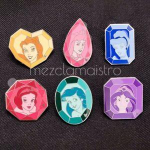 DLR Disney Hidden Mickey Cast Lanyard Series Princess Gems Pin Set 2008