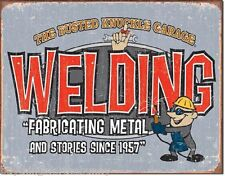 Welding Busted Knuckle Garage TIN SIGN funny vtg metal auto shop wall decor 1527