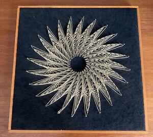Vintage Retro 1970s Nail String Art Thread Picture Geometric Framed Sun Artwork