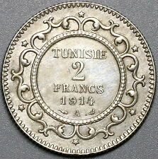 1914-A TUNISIA Silver 2 Francs France Colony Key Date 100k Coin (18041714RE)