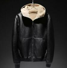 Men Hooded Fur Lined Loose Coat Jacket Zip Leather Warm Winter Outdoor Chic Blac