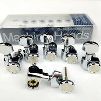 6 In Line Locking Guitar Tuners Tuning Pegs Machine Heads for FD ST Tele Chrome