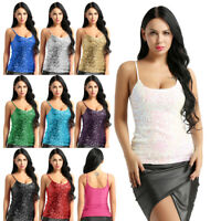 Womens Sequins Glitter Cami Camisole Vest Crop Tank Top Slim Blouse Clubwear Tee