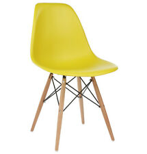 Eames Style DSW Molded Yellow Plastic Shell Chair with Wood Eiffel Legs