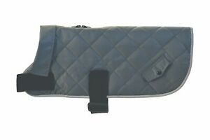 Classic Grey Waterproof Quilted Padded Warm Fur Lined Dog Coat