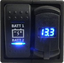 Dual Battery voltmeter with Double USB and Dual Battery ARB Narva Rocker Switch
