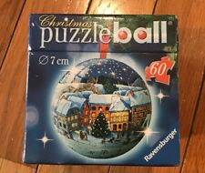 New Ravensburger Christmas Puzzle Ball 60 Pieces 7 cm Winter Village Scene 2006