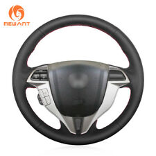 Durable Black Leather Steering Wheel Cover for Honda Accord 8 Coupe Crosstour