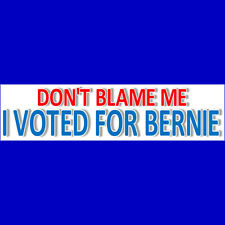DON'T BLAME ME - I VOTED FOR BERNIE Bumper Sticker  BUY 2 GET 1 FREE  Free S&H