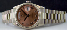 ROLEX - Men's 18kt White Gold Day-Date President - Rose Roman 118239 SANT BLANC