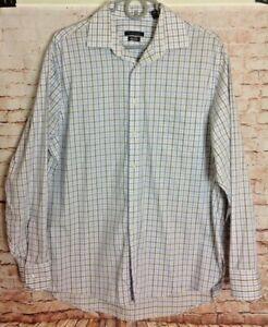 Men's Van Heusen Plaid Button Front Shirt Sz 16 1/2 34/35 Signature Regular Fit