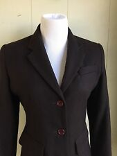 Vintage Brown Wool Blazer Suit Jacket Levine Long Pockets Lined Tailored Wms 4