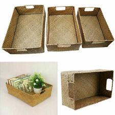 S/M/L Seagrass Storage Basket Box Hamper Rectangular Home Sundries Container
