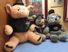 2 HARLEY DAVIDSON PLUSH TOYs Biker Pig & Bull Dog Plus Leather Clad Aviator