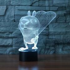 3D Led Squirrel Lampe Lighting Touch 7 Color Switch Luminaria Desk Lava Lamp for