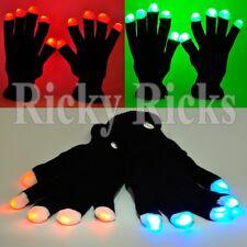 LED Gloves Rave Flashing Glow Light Up Finger Lights Glowing Black Blinking EDC