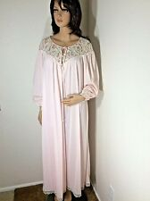 Vtg Pink Claire Sandra By Lucie Ann Beverly Hills Nylon Peignoir robe Sz Petite