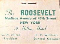 Roosevelt Hilton Hotel New York Air Mail Label Poster Stamp Book 1940's Scarce