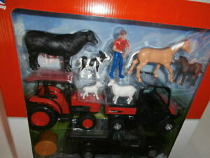 NewRay Kubota Tractor RTV Pickup Truck Trailer Horses Cows Hay Farm Playset