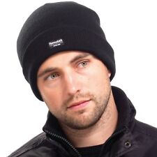 New Mens Thermal Fleece Lined Beanie Black Hat Winter Cap 3M Thinsulate