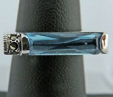 NICE UNIQUE ESTATE STERLING SILVER BLUE STONE MARCASITE BAR RING BAND SZ 5