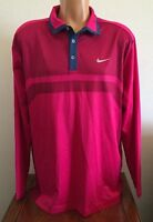 Nike Golf Mens L Large Warm Heather Polo Long Sleeve Shirt Fuchsia Force Pink