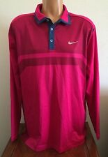 Nike Golf Mens Size Large Warm Heather Polo Long Sleeve Shirt Fuchsia Force Pink