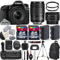 Canon EOS 80D DSLR Camera with 18-135mm IS USM Lens + 50mm 1.8 +BATT GRIP +64GB