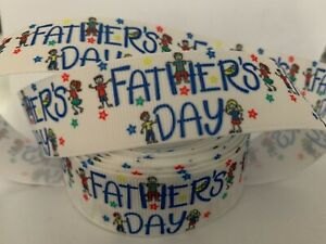 """Grosgrain Happy Fathers Day with Stars Ribbon 7/8"""" 22mm"""