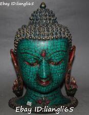 Chinese Turquoise Bronze Gem Sakyamuni Shakyamuni Tathagata Buddha Head Statue