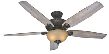 """60"""" Large Farmhouse Ceiling Fan Cabin Light w/ Pull Chains Weathered Rustic Wood"""