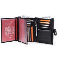 Men's Genuine Leather Travel Wallet Passport Holder Case ID Card Organiser Purse
