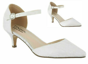 LADIES IVORY SATIN OR LACE MID HEEL POINTED TOE ANKLE STRAP MARY JANE SHOES