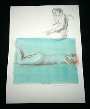 Hawaii Mixed Media Wash Painting Sleeping Female Nude by Snowden Hodges(Sho)#105
