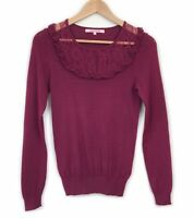 Review Burgundy Knit Top Jumper Size 8 Frill Ruffle Lace Evening Work Womens