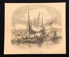 ANCIEN LIVRE DE 1873 Imprimé/ILLUSTRATION turc des navires au large Constantinople