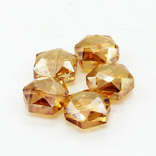 Beautiful 5PCS 15mm Faceted Hexagon Shape Glass Crystal Loose Spacer Beads