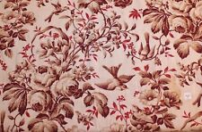 """Antique 19thC French Bird Chateau Curtain Textile Fabric Panel~2yds8""""L X 32""""W"""