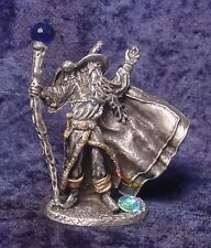 Pewter Wizard with Flowing Cape, Owl & Colorful Crystal Accents