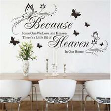 Because Heaven Butterfly English Quotes Home Decor Wall Decal Sticker Art Mural
