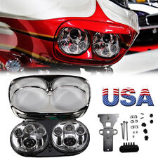 Dual LED Projector Headlight Daymaker Lamp For Harley Road Glide FLTR 2007 08 09