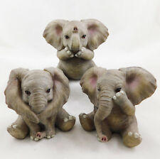 Three (3) Wise Sitting Baby Elephants Figurine Ornament Statue Hand Painted NEW