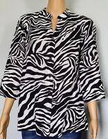Jones New York Women Black White  Zebra Print Linen Shirt Sz M