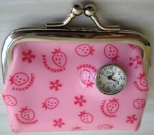 Pink plastic Strawberry Mini Coin Purse Built-in Clock Watch snap-closing wallet