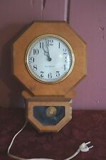 """VTG. GENERAL ELECTRIC WOODEN WALL CLOCK: """"AS IS""""  FOR REPAIR/ PARTS"""