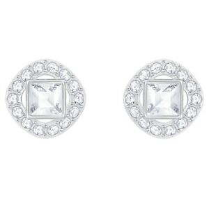 Angelic stud earrings Square, White, Rhodium plated