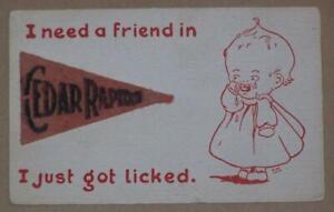 1920 POSTCARD, FELT PENNANT, CEDAR RAPIDS, IOWA, BABY CRYING