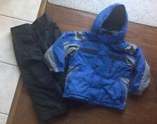 COLUMBIA SNOW SKI SUIT SET OUTFIT JACKET PANTS Blue Black HOOD BOY's size 4 5