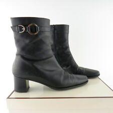 Coach Irina Black Leather Zip Mid-Calf Boots Silver Tone Logo Buckle Size 9.5 B