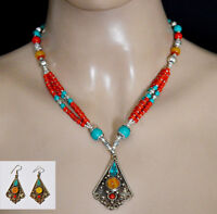 Wholesale sterling silver necklace set with earrings coral amber turquoise Set14